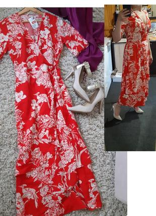 Шикарное длинное платье на запах, h&m, p. 8