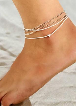 Многослойный браслет на ногу с подвеской сердце серебристого цвета