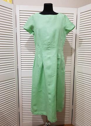 Салатовое льняное платье миди marc o polo