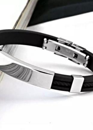 Черный силиконовый браслет нержавеющая сталь мужской женский