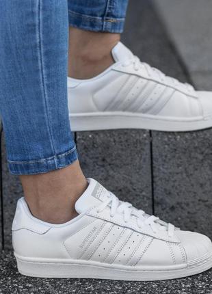 Кожаные кроссовки adidas superstar оригинал