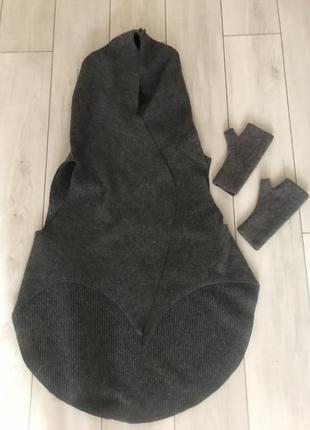 Шерстяной жилет / манто + варежки