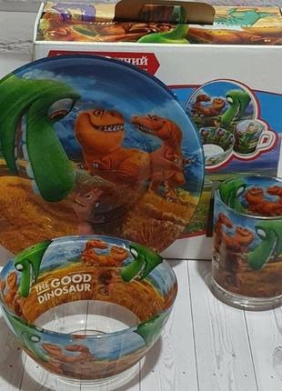 Детский набор посуды динозавр