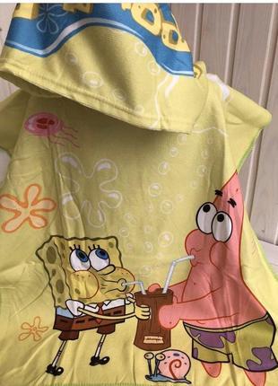 Детское полотенце пончо для пляжа, бассейна и дома