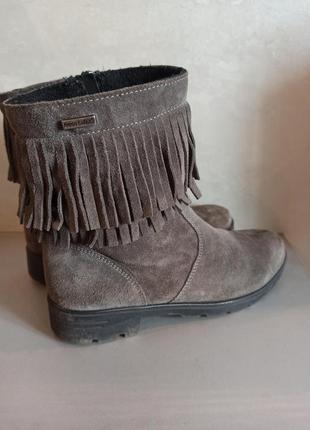 Натуральные, замшевые сапоги ботинки с бахромой ricosta