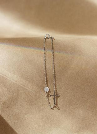 Серебряный браслет с крестиком и монеткой