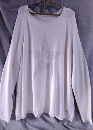 """Жіночий молочний светр з малюнком """"зірка"""", європейський розмір 52-54"""