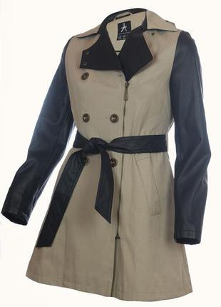 Очень стильный тренч пальто с кожаными вставками размер xs/s
