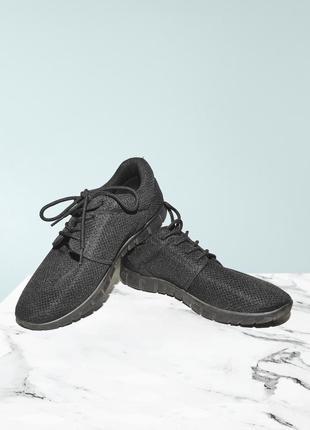 Черные кроссовки в сетку fabric
