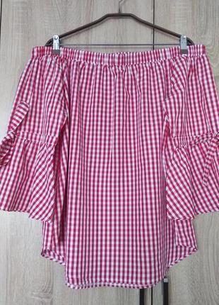 Стильная клетчатая блузка с открытыми плечами блуза блузон размер 52-54
