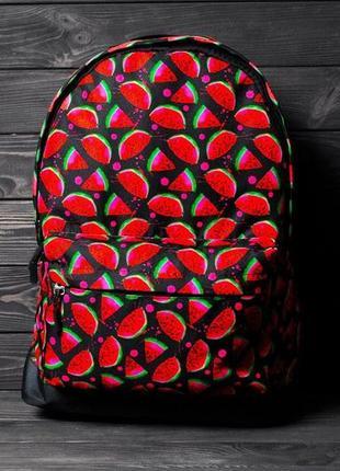 Яркий, стильный рюкзак с принтом арбуз. для путешествий, тренировок, учебы.