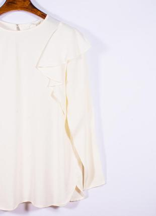 Женская блузка молочная с оборками, модная блузка белая, блуза, жіноча блуза біла4 фото