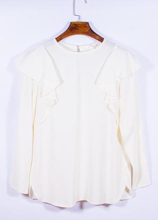 Женская блузка молочная с оборками, модная блузка белая, блуза, жіноча блуза біла
