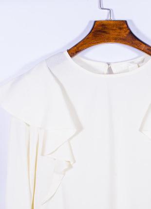 Женская блузка молочная с оборками, модная блузка белая, блуза, жіноча блуза біла3 фото