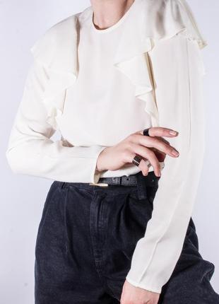Женская блузка молочная с оборками, модная блузка белая, блуза, жіноча блуза біла6 фото