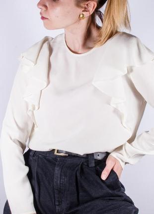 Женская блузка молочная с оборками, модная блузка белая, блуза, жіноча блуза біла5 фото