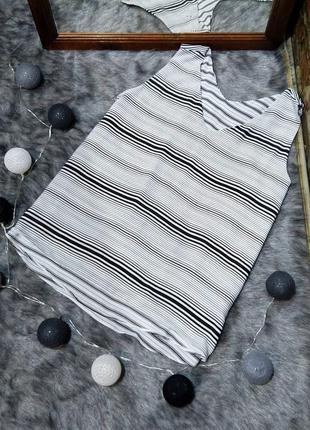 Двухслойная блуза кофточка топ в черно-белую полоску peacocks