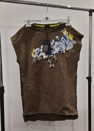 Новое короткое платье fun & fun, италия футболка с подвесками и стразами туника хлопок