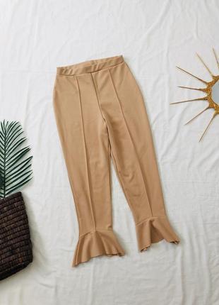 Брюки штаны с рюшами/ лосины/ персикові лосіни з рюшами