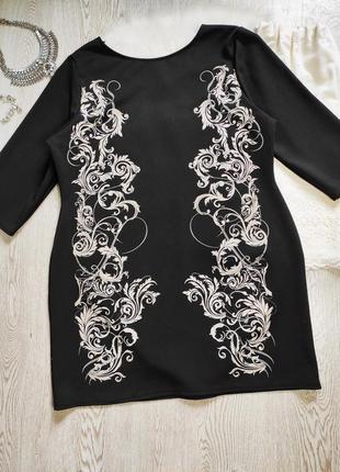 Черное вечернее нарядное короткое платье миди с принтом цветочным белым стрейч батал