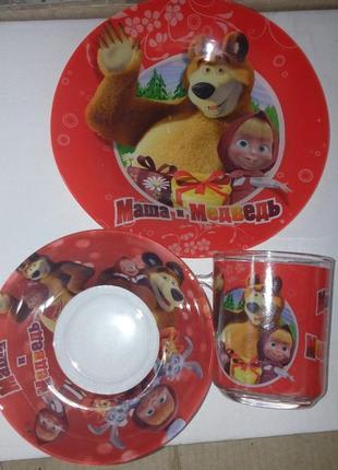 Детский набор посуды маша и медведь