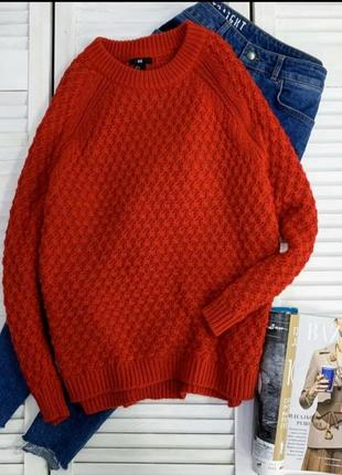 Яркий красный джемпер h&m оверсайз