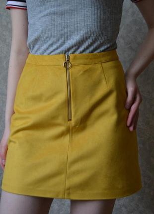 Замшевая юбка трапеция с замком (в 2-х цветах)