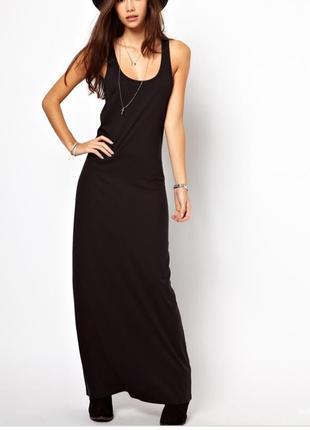 Чёрное платье майка в пол h&m