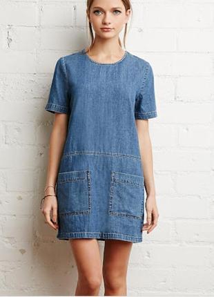 Лёгкое летние джинсовое платье ровного кроя dorothy perkins