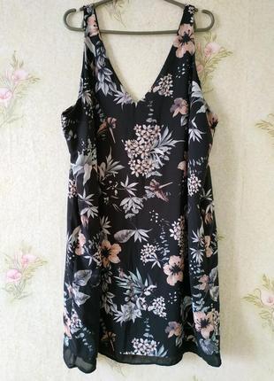 Летние лёгкие платье туника большого размера в цветочный принт george