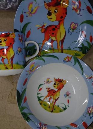 Детский набор посуды оленёнок