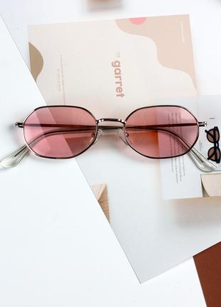 Очки розовые солнцезащитные в серебряной оправе hexagonal женские мужские