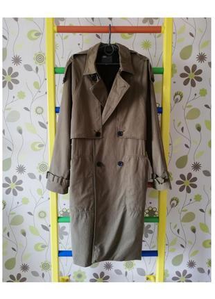Тренч пальто дощовик коат trench coat дождевик asos асос хакі хаки зелёный зелений миди