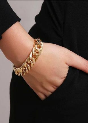 Браслет золото цепочка широкий на руку браслетик цепь
