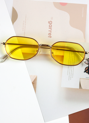 Очки желтые солнцезащитные в золотой оправе hexagonal женские мужские