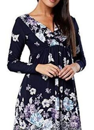 Красивое синее цветочное платье для беременных и кормящих chelsea clark s