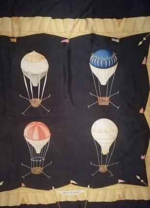 Bvlgari винтажный шёлковый платок оригинал, шов роуль.