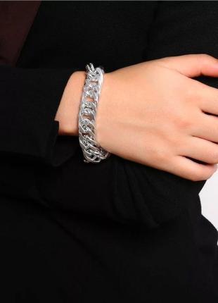 Браслет серебристый браслетик цепочка на руку цепь широкая