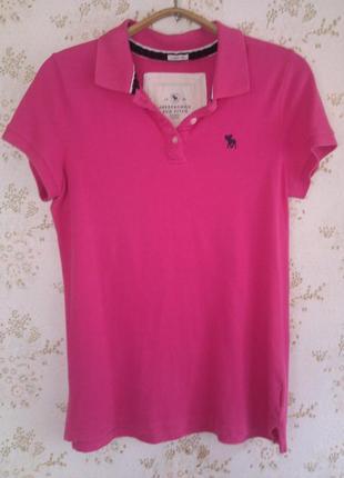 Яркое ,розовое поло abercrombie&fitch