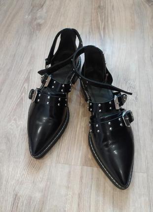 Крутые кожанные туфли балетки asos