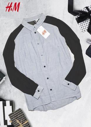 Рубашка с черными рукавами h&m