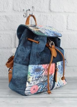 Джинсовый городской рюкзак batty 8151-1 синий молодежный