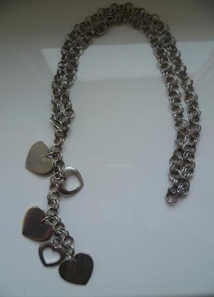 Подвеска,подвеска с сердцами, цепочка, ожерелье с сердцем,ланцюжок, підвіска