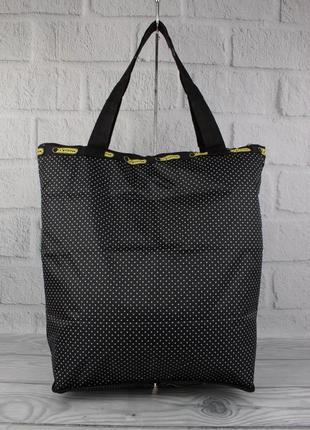 Сумка-шоппер-трансформер lesportsac 9801-10 черная в горошек текстильная