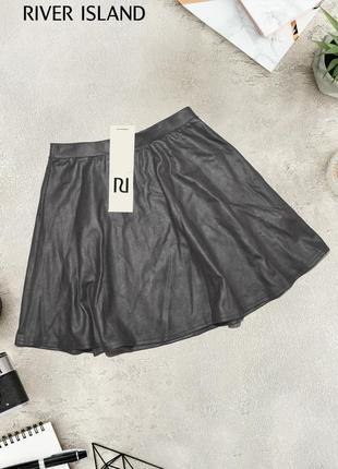 Новая черная юбка с металлическим напылением river island