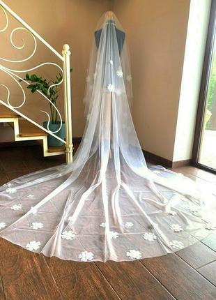 Свадебная фата с цветами🌺🌸🏵️🌼💮из органзы.