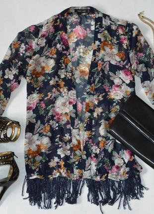 Летняя накидка!розпродаж!!обмен в цветы с бахромой new look трендова накидка з квітами