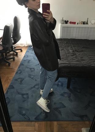 Кожаный плащ тренч куртка