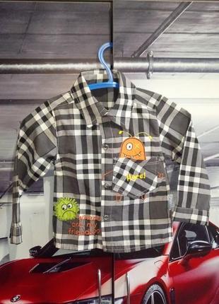 Сіра в кліточку сорочка на хлопчика 3-9м(серая рубашка на мальчика 3-9месяцев)