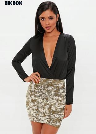 Новая велюровая золотистая юбка bik bok